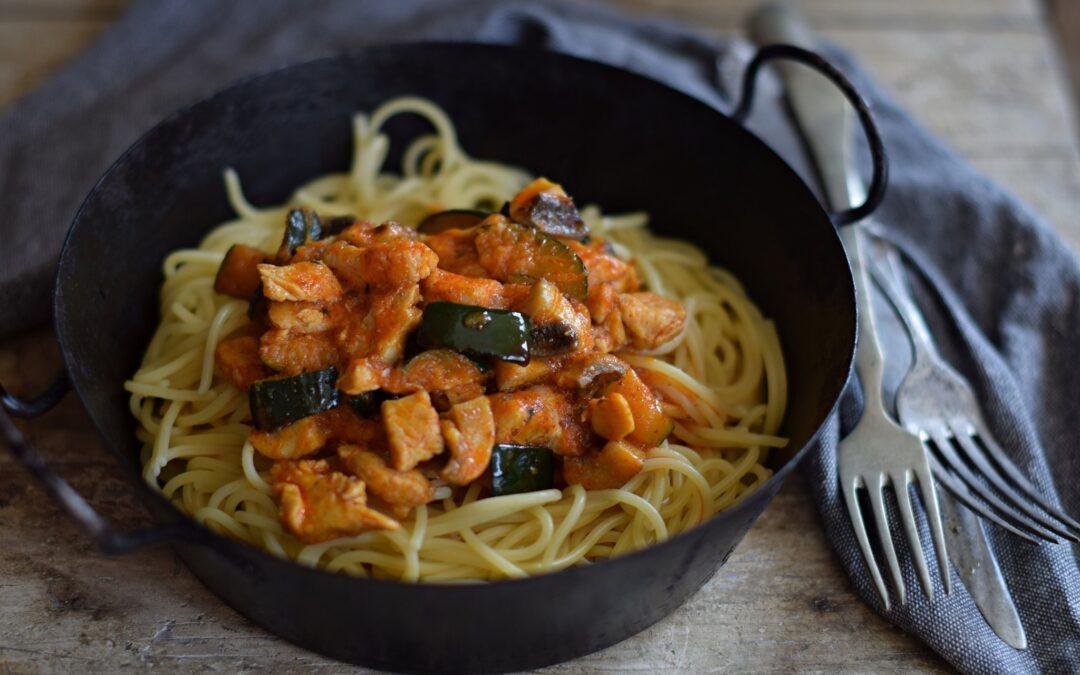 Cukkinis-csirkés spagetti